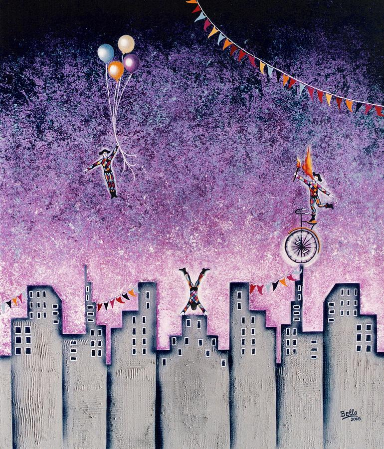 Cityscape Painting - Harlequins Festival by Graciela Bello