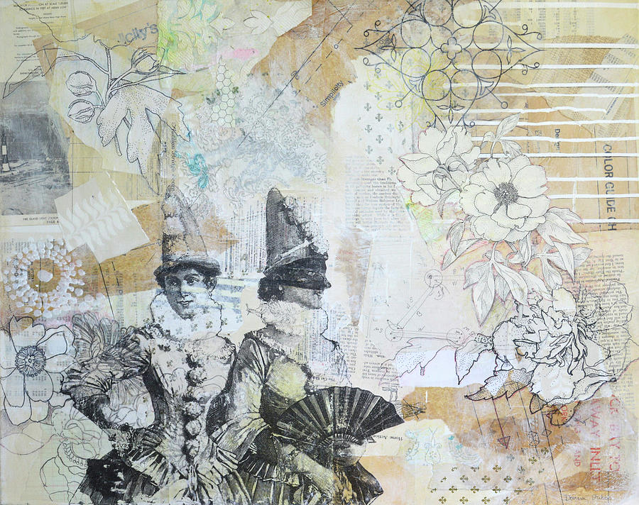Vintage Mixed Media - Harlequins by Donna Stubbs