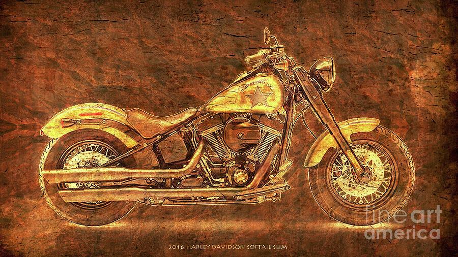 Harley Davidson Digital Art - Harley Davidson Classic Bike, Original Golden Art Print For Man Cave by Drawspots Illustrations
