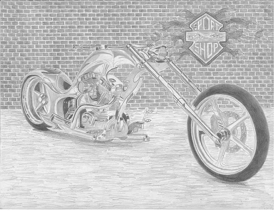 Kleurplaat Motor Harley Harley Davidson Custom Chopper Motorcycle Art Print