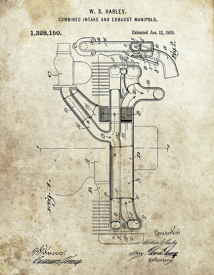 Exhaust Manifold Drawing - Harley Davidson Exhaust Manifold by Dan Sproul