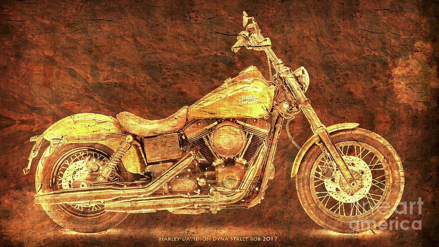 Harley Davidson Digital Art   Harley Davidson Golden Motorcycle, Gift For  Men, Pub Decoration