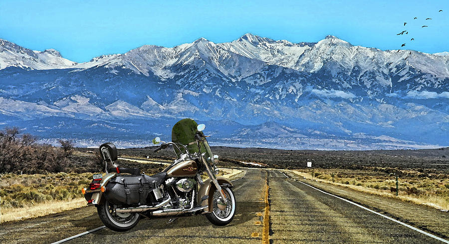harley davidson heritage motorcycle on the doorstep of the rockies