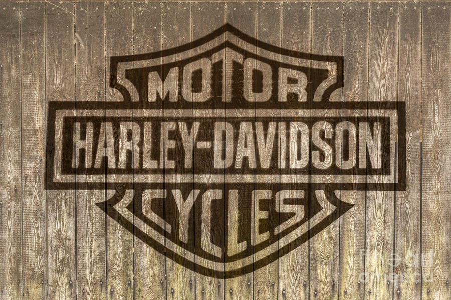 Harley Davidson Logo On Wood Digital Art By Randy Steele