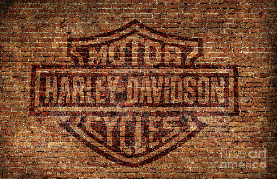 Harley Davidson Logo Red Brick Wall Digital Art by Randy Steele