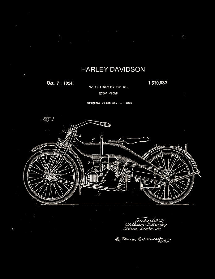 Harley Davidson Digital Art - Harley Davidson Motor Cycle Patent 1924 by Claire  Doherty