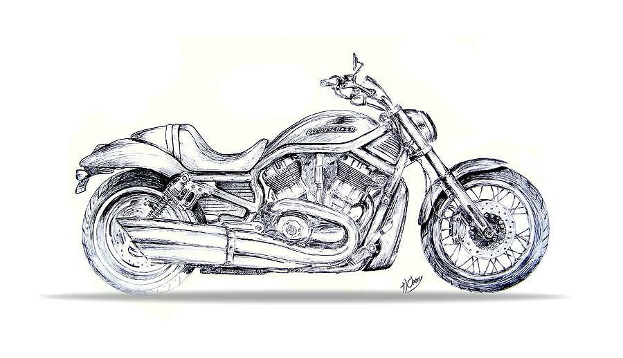 Harley Davidson V Rod Drawing By Terence John Cleary