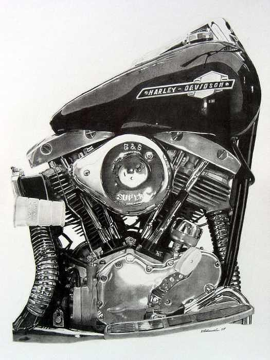 Realistic Drawing - Harley Engine-for Client by Kyle Adamache