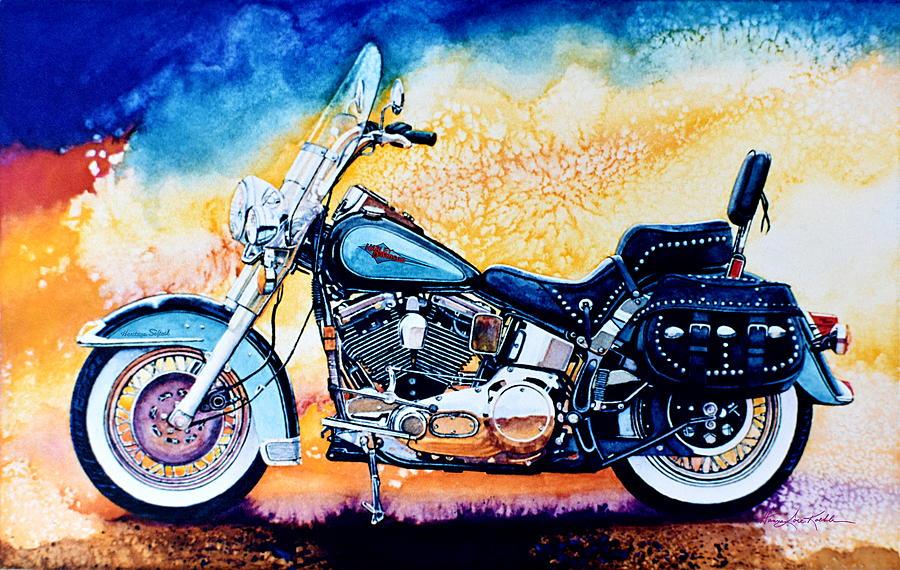 Heritage Softail Painting - Harley Hog I by Hanne Lore Koehler