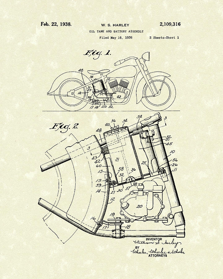 Harley Drawing - Harley Motorcycle 1938 Patent Art by Prior Art Design