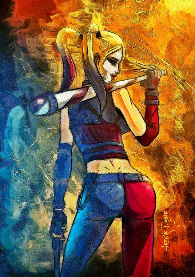 Adapted Digital Art - Harley Quinn Spicy  - Van Gogh Style -  - Da by Leonardo Digenio