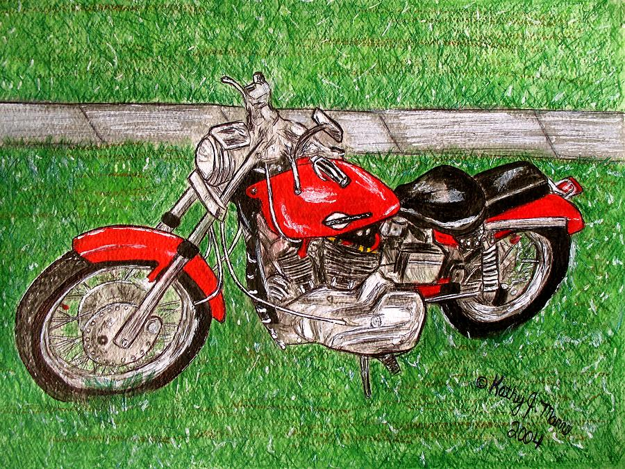 Harley Painting - Harley Red Sportster Motorcycle by Kathy Marrs Chandler