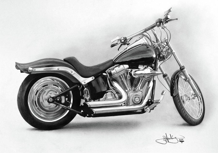 chopper drawing harley softail study drawing by john harding
