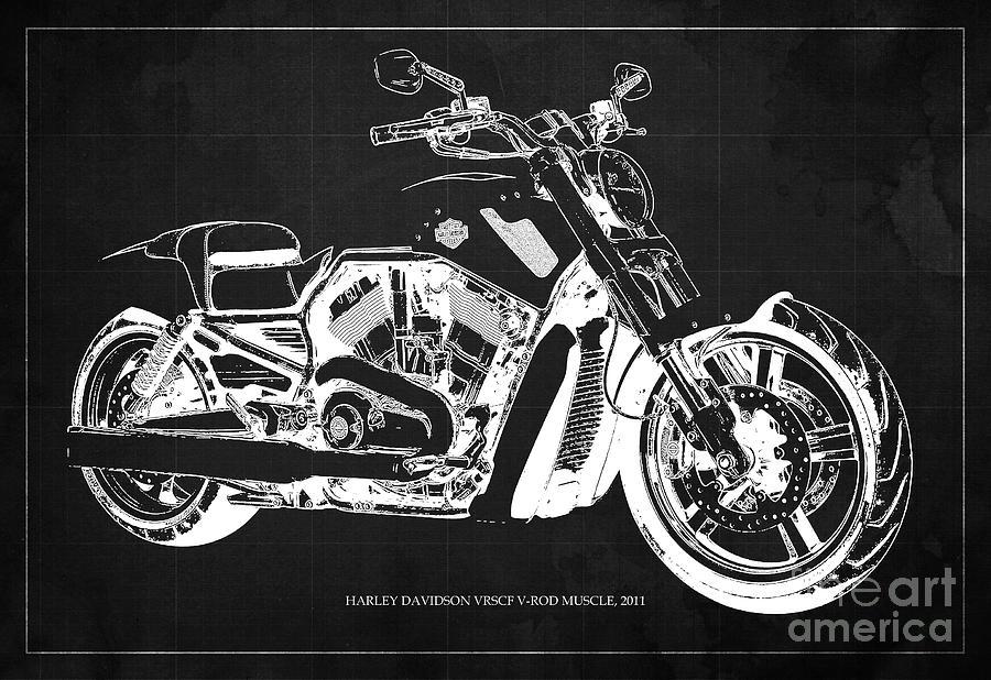 Harley v rod muscle motorcycle dark grey blueprint original gift harley digital art harley v rod muscle motorcycle dark grey blueprint original gift malvernweather Images