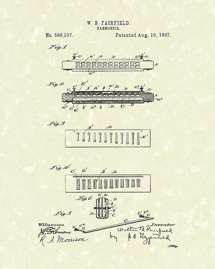Harmonica Drawing - Harmonica Fairfield 1897 Patent Art by Prior Art Design