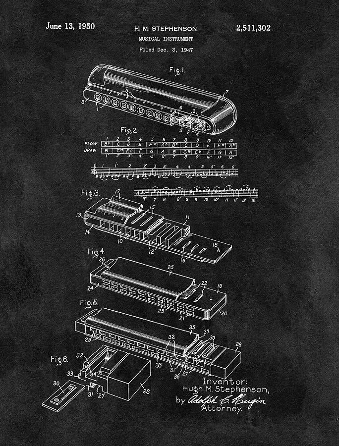 Harmonica Patent Blueprint Drawing