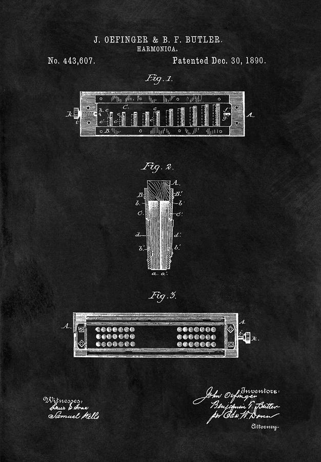 Harmonica Patent Illustration Drawing