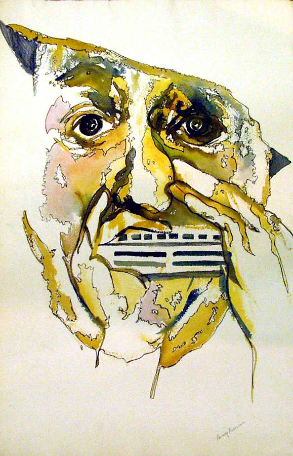 Harmonica Painting - Harmonica Player by Mindy Newman
