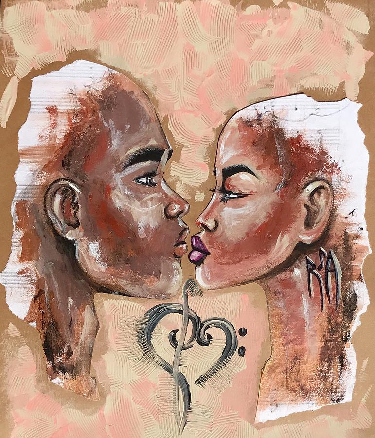 Black Love Painting - Harmonies by Artist RiA