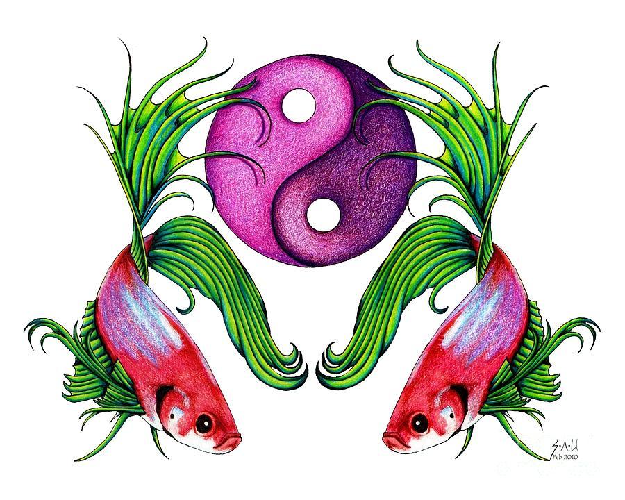 Ying Yang Drawing - Harmony Together by Sheryl Unwin
