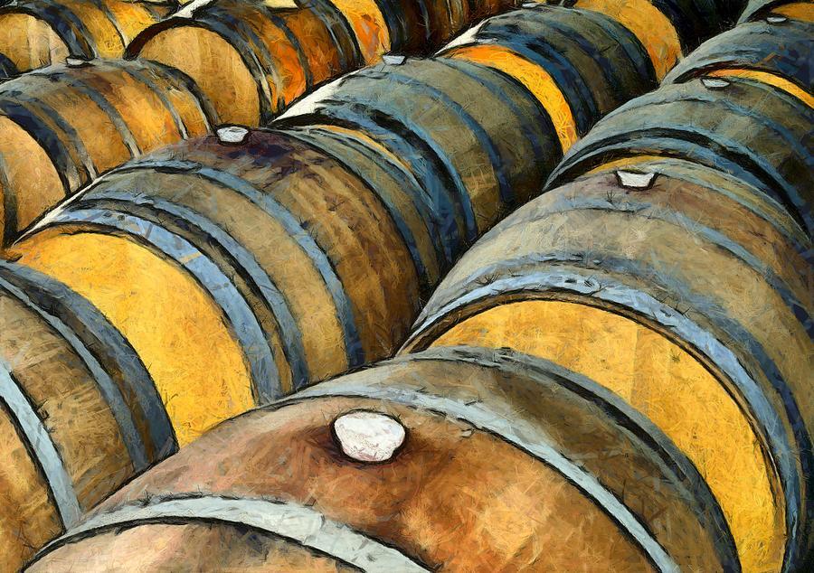 Harmony Wine Cellars Oak Barrels Photograph