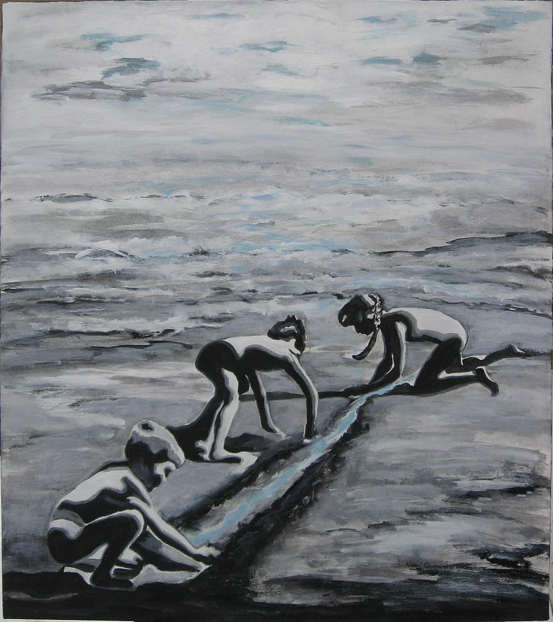 Children Playing On The Beach Painting - Harnessing The Ocean by Naomi Gerrard