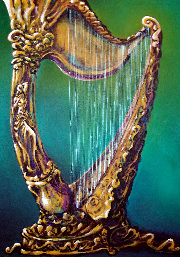 Harp Painting - Harp by Kevin Middleton