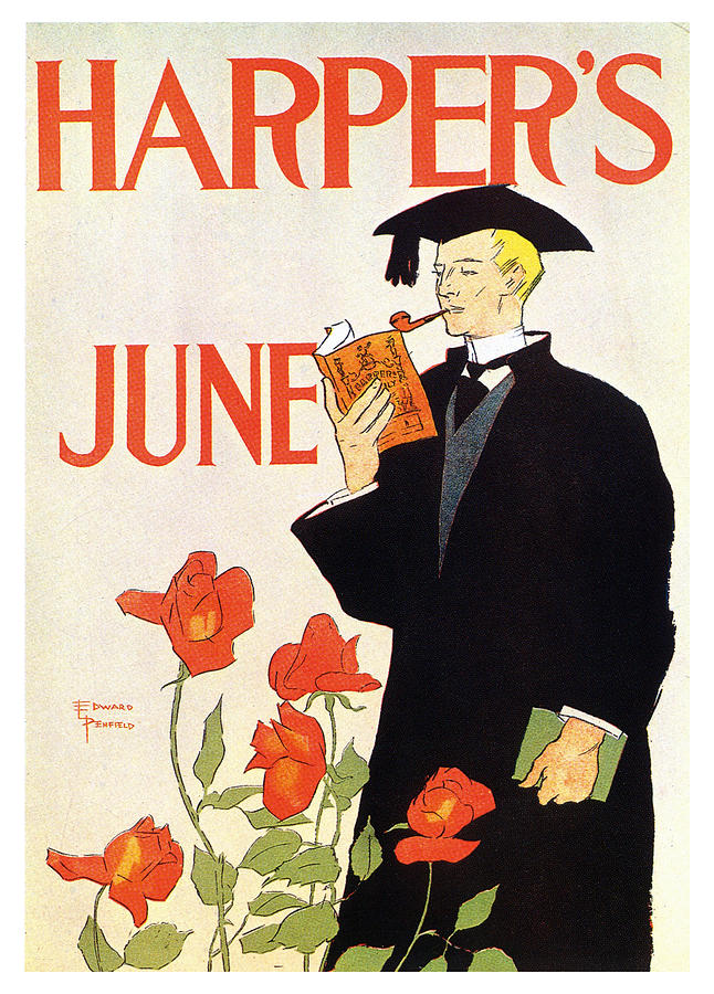 Harpers Magazine - June - Magazine Cover - Vintage Advertising Poster Mixed Media
