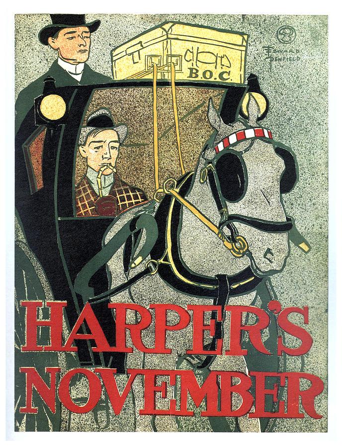 Harpers Magazine - Magazine Cover - November - Vintage Art Nouveau Poster Mixed Media