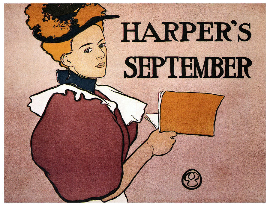 Harpers Magazine - Magazine Cover - September - Vintage Art Nouveau Poster Mixed Media