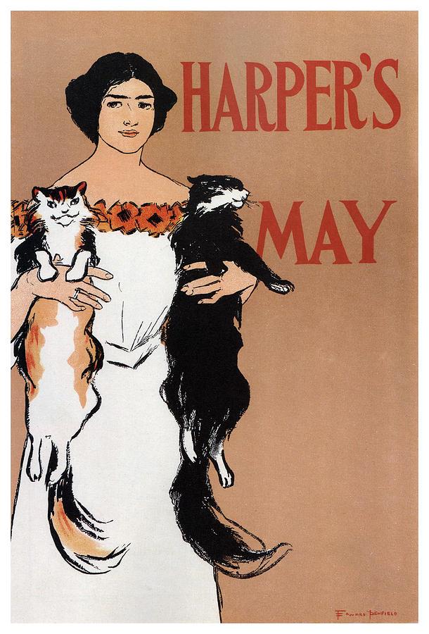 Harpers Magazine - Magazine Cover - Vintage Art Nouveau Poster Mixed Media