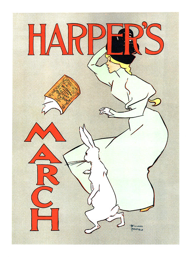 Harpers Magazine - March - Vintage Art Nouveau Poster Mixed Media