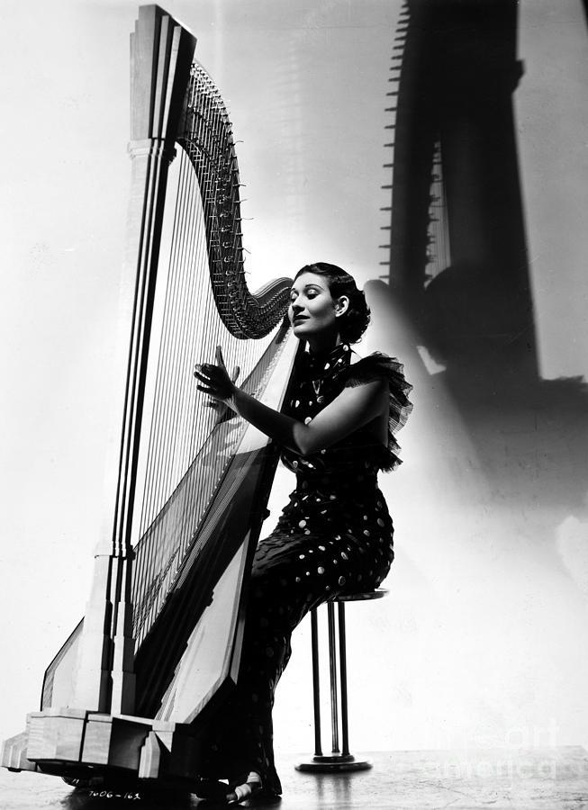 1935 Photograph - Harpist, 1935 by Granger
