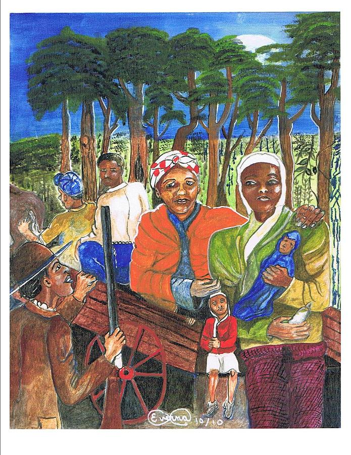 Underground Railroad Painting - Harriet Tubman-take The Road Only To Twin Forks by Everna Taylor