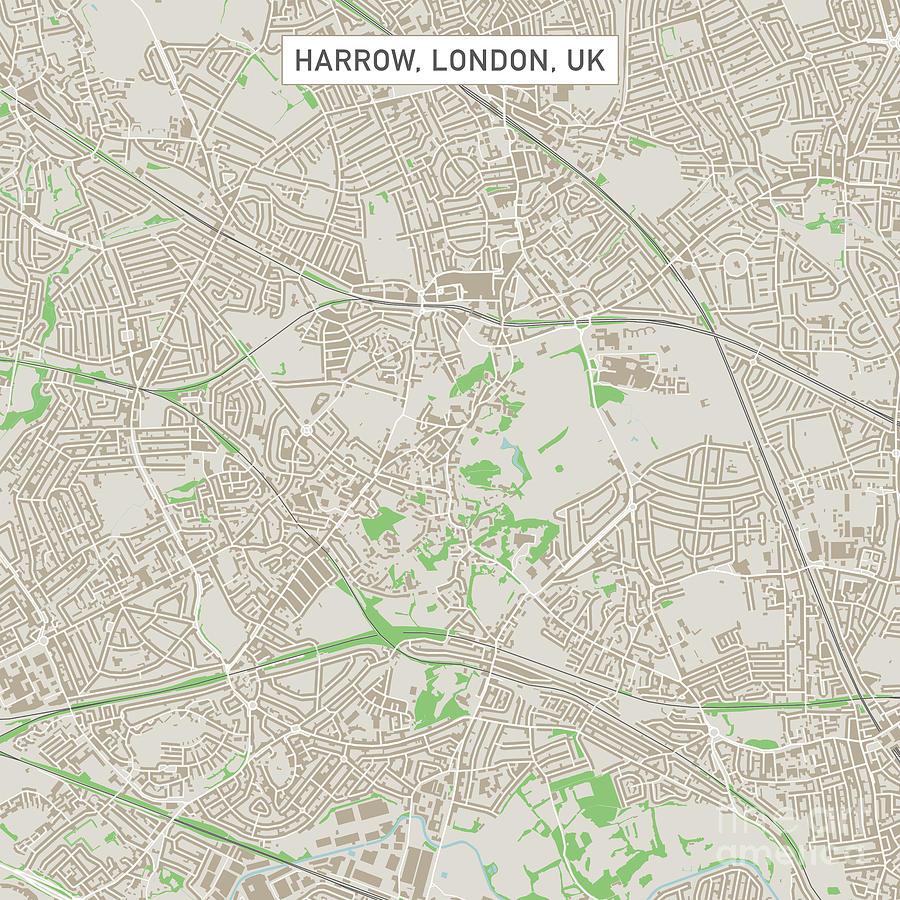 Street Map Of London Uk.Harrow London Uk City Street Map Digital Art By Frank Ramspott