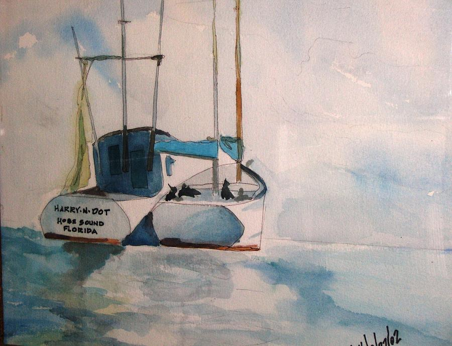 Boats Painting - Harry- N -dot by Meredith Jones