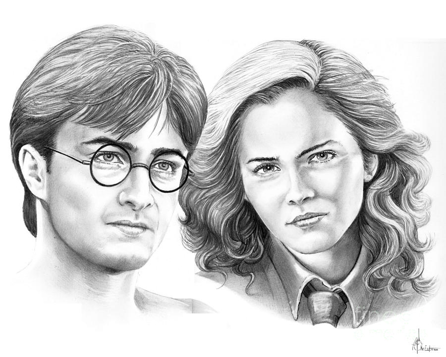 Pencil Drawing - Harry Potter And Hermione by Murphy Elliott