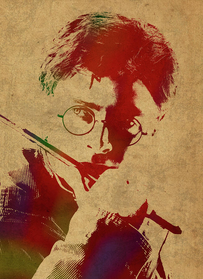 Harry Potter Mixed Media - Harry Potter Watercolor Portrait by Design Turnpike