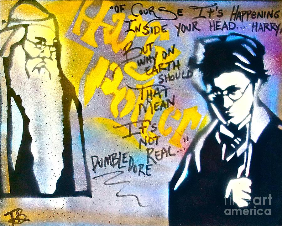 Graffiti Painting - Harry Potter With Dumbledore by Tony B Conscious