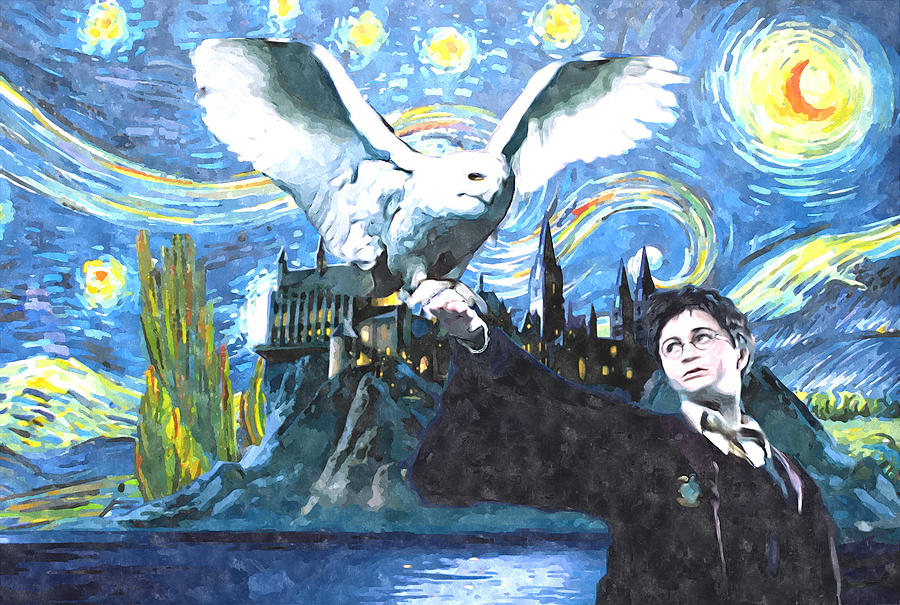 Golden Owl Digital Art - Harry Potter starry night with owl by Midex Planet