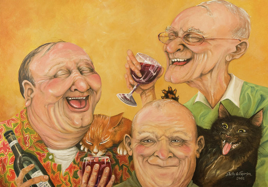 Men Painting - Harrys Lodge Meeting by Shelly Wilkerson