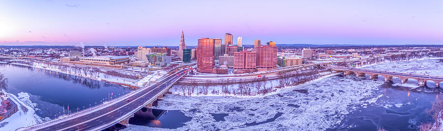 Hartford CT Winter Morning Aerial Drone Panorama Photograph by Petr Hejl