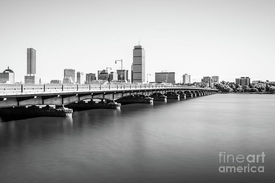 America Photograph - Harvard Bridge Boston Skyline Black And White Photo by Paul Velgos