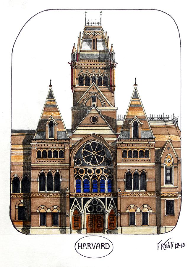 Famous Buildings Images Drawing - Harvard by Frederic Kohli