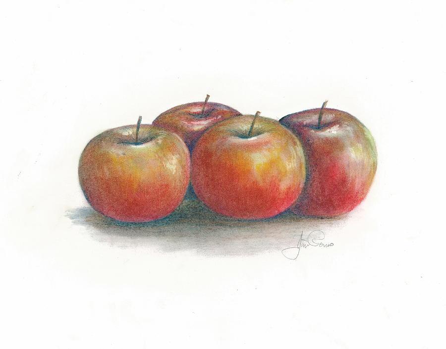 Still Life Pastel - Harvest Apples by Jim  Romeo