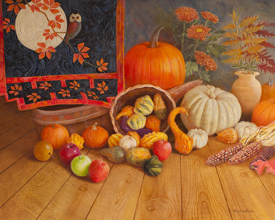 Thanksgiving Holiday Painting - Harvest Bounty by Nancy Lee Moran