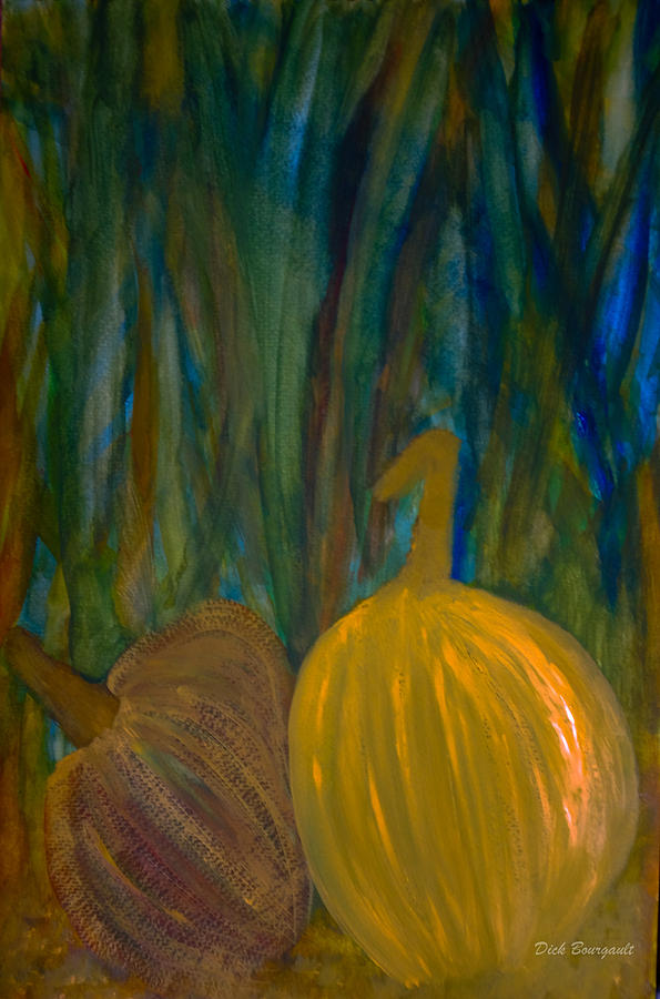 Gourds Painting - Harvest by Dick Bourgault