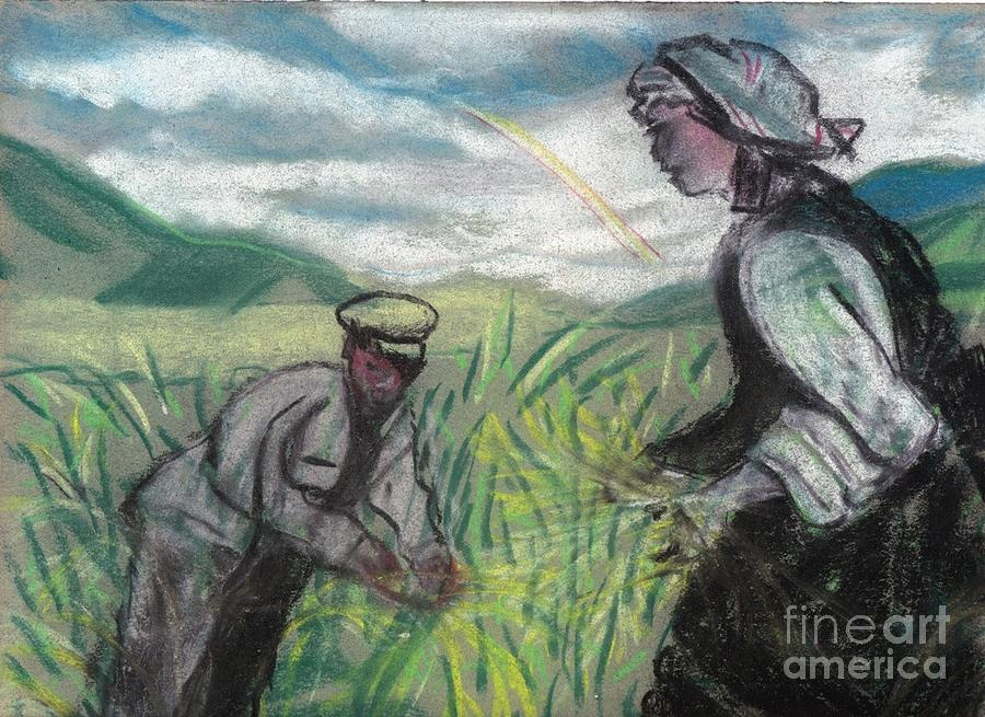 Land Painting - Harvest by Duygu Kivanc