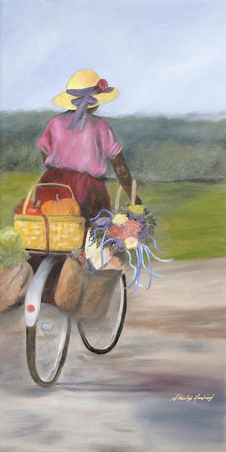 Rural Landscape Of Lady On Bike Painting - Harvest Finds by Shirley Lawing