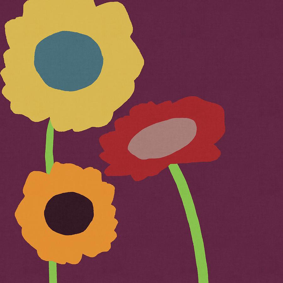 Sunflowers Mixed Media -  Harvest Flowers Purple- Art By Linda Woods by Linda Woods
